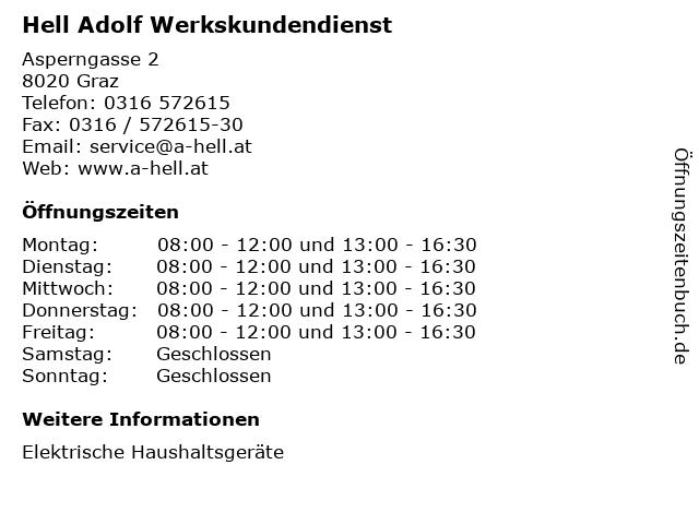 Hell Adolf Werkskundendienst in Graz: Adresse und Öffnungszeiten