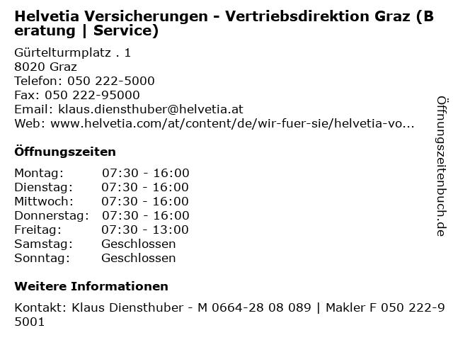 Helvetia Versicherungen - Vertriebsdirektion Graz (Beratung | Service) in Graz: Adresse und Öffnungszeiten