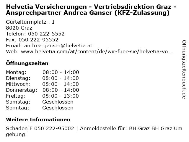 Helvetia Versicherungen - Vertriebsdirektion Graz - Ansprechpartner Andrea Ganser (KFZ-Zulassung) in Graz: Adresse und Öffnungszeiten