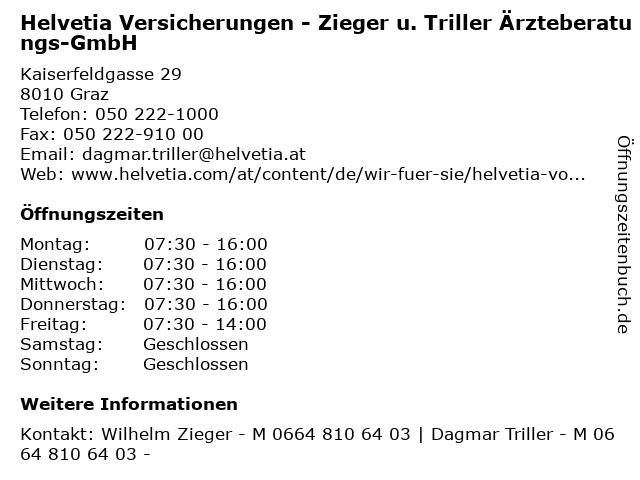 Helvetia Versicherungen - Zieger u. Triller Ärzteberatungs-GmbH in Graz: Adresse und Öffnungszeiten