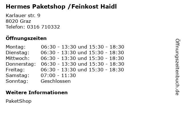 Hermes Paketshop /Feinkost Haidl in Graz: Adresse und Öffnungszeiten