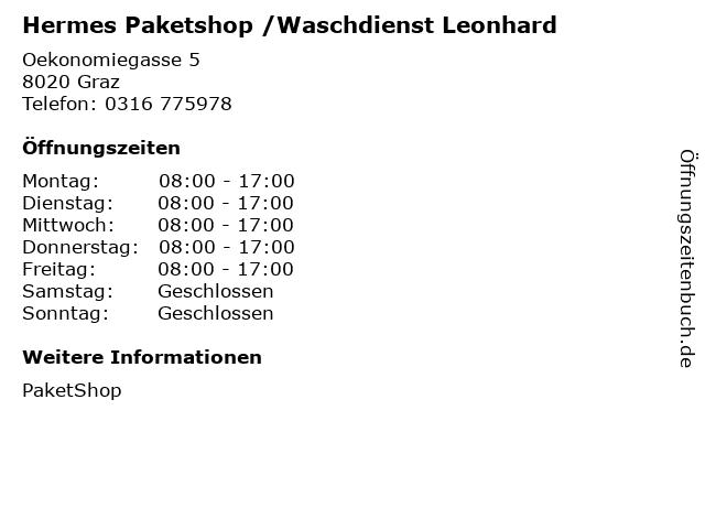 Hermes Paketshop /Waschdienst Leonhard in Graz: Adresse und Öffnungszeiten