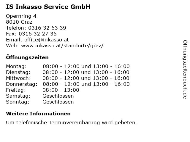 IS Inkasso Service GmbH in Graz: Adresse und Öffnungszeiten