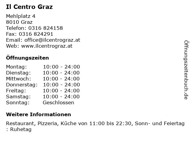 Il Centro Graz in Graz: Adresse und Öffnungszeiten
