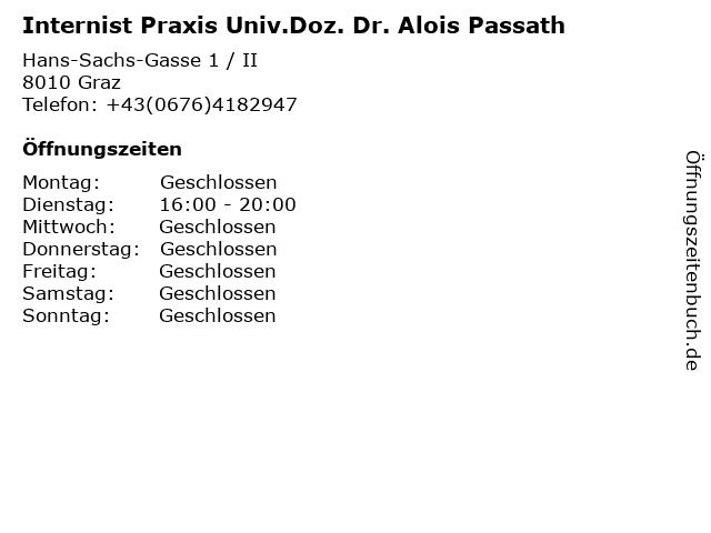 Internist Praxis Univ.Doz. Dr. Alois Passath in Graz: Adresse und Öffnungszeiten