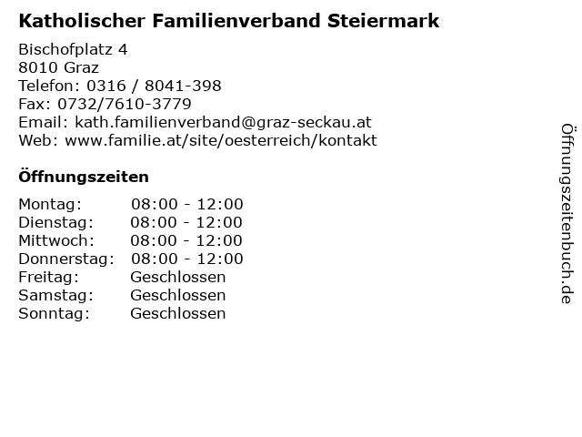Katholischer Familienverband Steiermark in Graz: Adresse und Öffnungszeiten