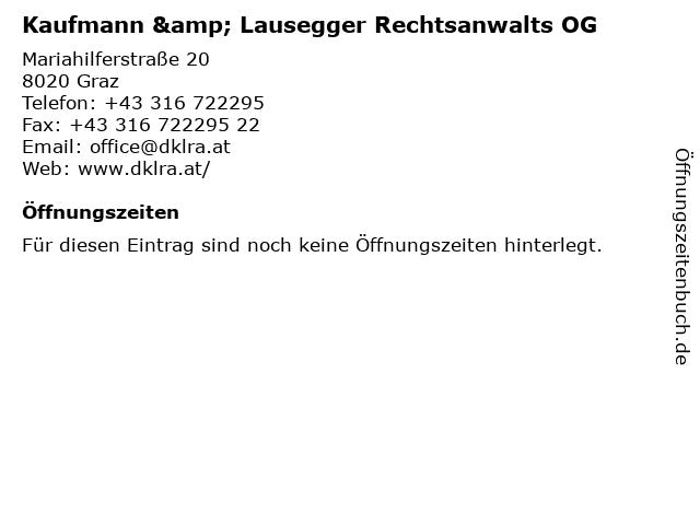 Kaufmann & Lausegger Rechtsanwalts OG in Graz: Adresse und Öffnungszeiten