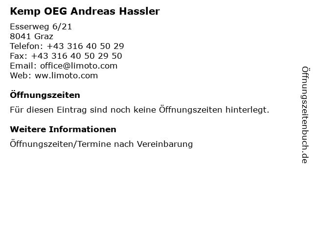 Kemp OEG Andreas Hassler in Graz: Adresse und Öffnungszeiten