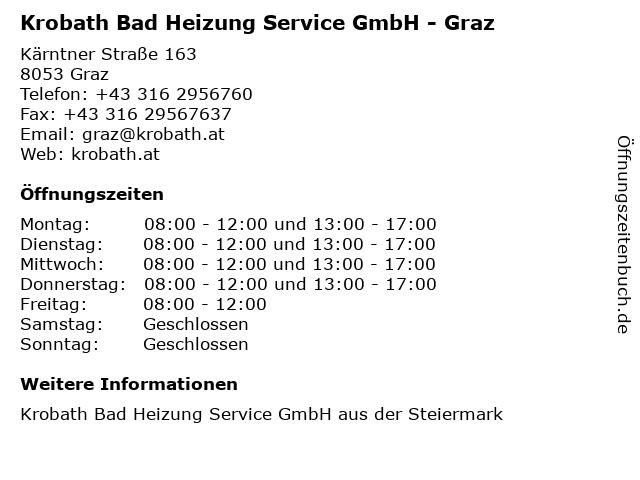 Krobath Bad Heizung Service GmbH - Graz in Graz: Adresse und Öffnungszeiten