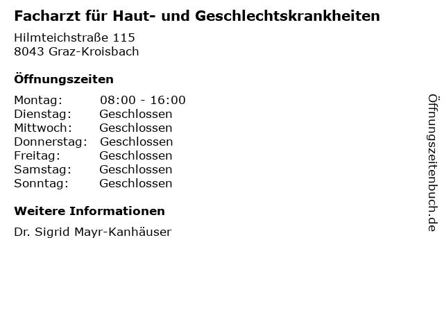 Facharzt für Haut- und Geschlechtskrankheiten in Graz-Kroisbach: Adresse und Öffnungszeiten