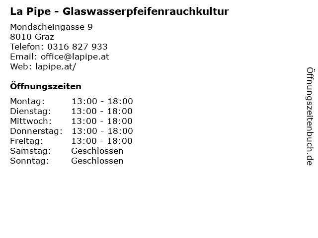 La Pipe - Glaswasserpfeifenrauchkultur in Graz: Adresse und Öffnungszeiten