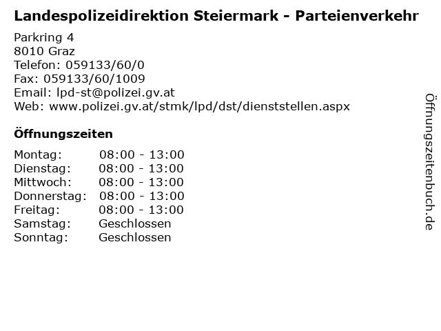 Landespolizeidirektion Steiermark - Parteienverkehr in Graz: Adresse und Öffnungszeiten