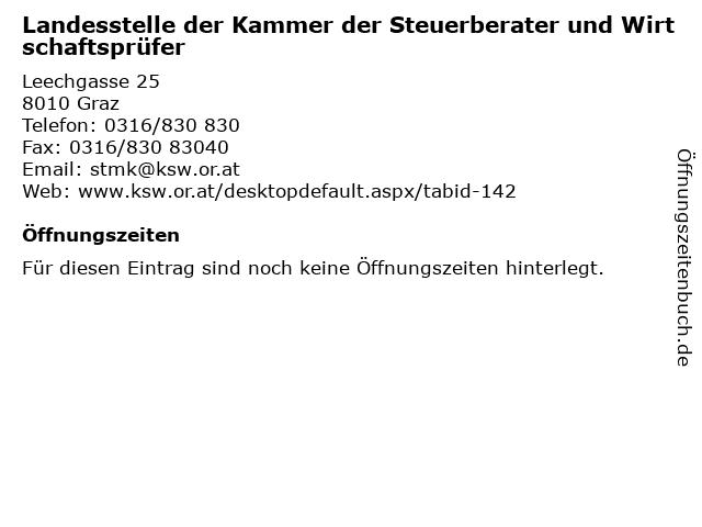Landesstelle der Kammer der Steuerberater und Wirtschaftsprüfer in Graz: Adresse und Öffnungszeiten