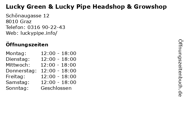 Lucky Green & Lucky Pipe Headshop & Growshop in Graz: Adresse und Öffnungszeiten