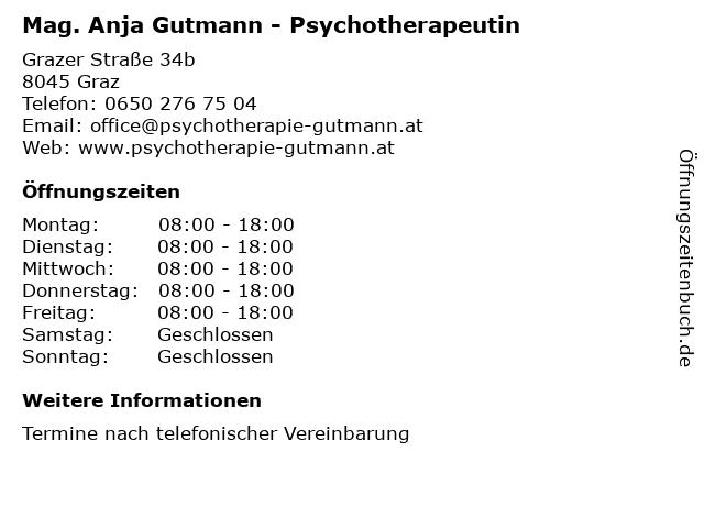 Mag. Anja Gutmann - Psychotherapeutin in Graz: Adresse und Öffnungszeiten