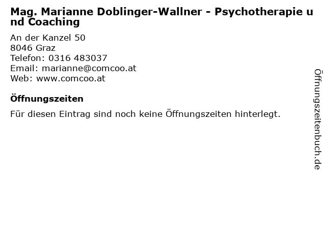 Mag. Marianne Doblinger-Wallner - Psychotherapie und Coaching in Graz: Adresse und Öffnungszeiten