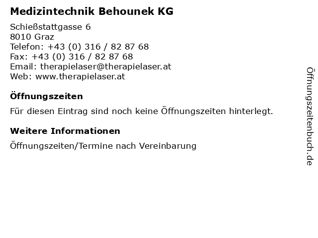Medizintechnik Behounek KG in Graz: Adresse und Öffnungszeiten