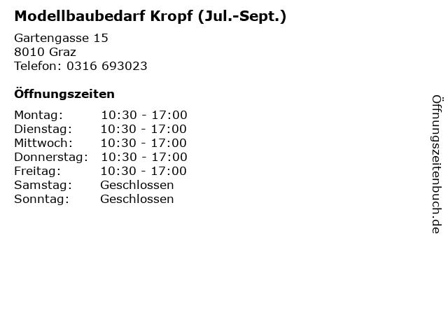 Modellbaubedarf Kropf (Jul.-Sept.) in Graz: Adresse und Öffnungszeiten