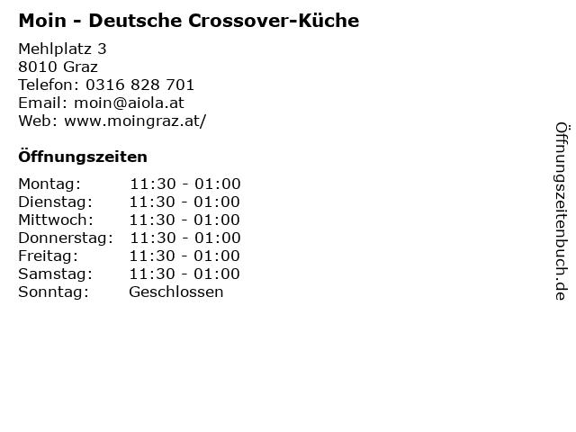 Moin - Deutsche Crossover-Küche in Graz: Adresse und Öffnungszeiten