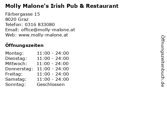 Molly Malone's Irish Pub & Restaurant in Graz: Adresse und Öffnungszeiten