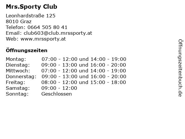 Mrs.Sporty Club in Graz: Adresse und Öffnungszeiten