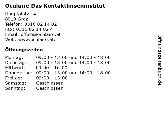 Oculaire Das Kontaktlinseninstitut in Graz: Adresse und Öffnungszeiten