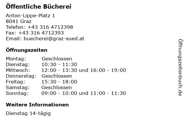 Öffentliche Bücherei in Graz: Adresse und Öffnungszeiten