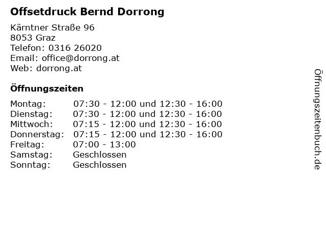 Offsetdruck Bernd Dorrong in Graz: Adresse und Öffnungszeiten