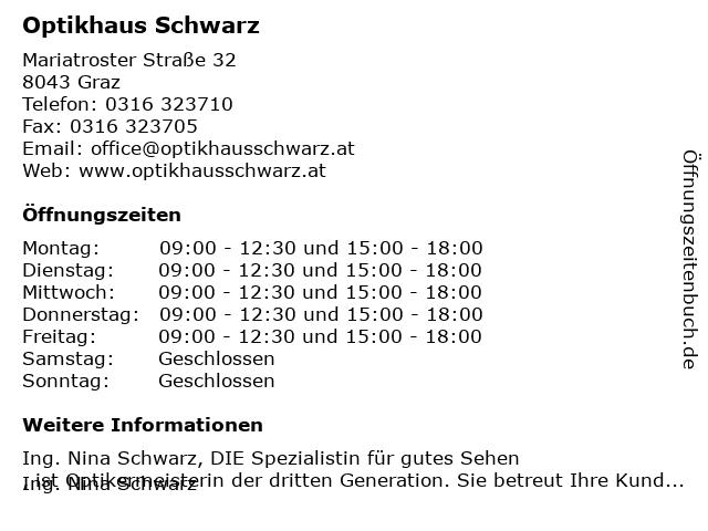 Optikhaus Schwarz in Graz: Adresse und Öffnungszeiten