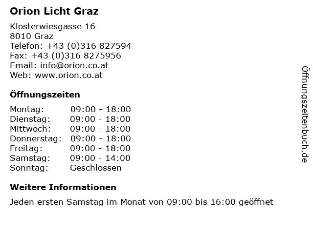ᐅ Offnungszeiten Orion Licht Graz Klosterwiesgasse 16 In Graz