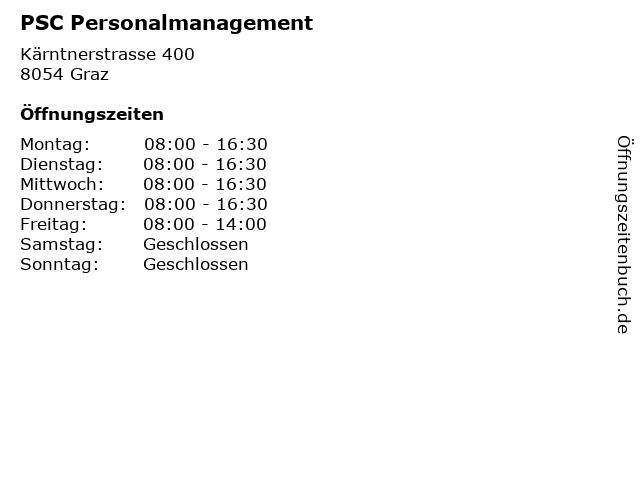 PSC Personalmanagement in Graz: Adresse und Öffnungszeiten