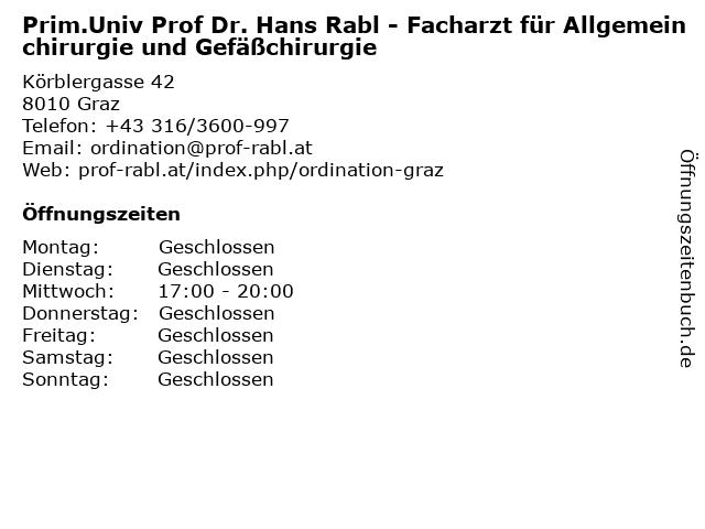 Rabl Hans Univ Prof Dr FA für Gefäßchirurgie in Graz: Adresse und Öffnungszeiten