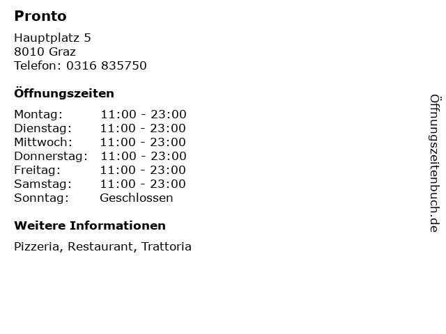 Pronto in Graz: Adresse und Öffnungszeiten