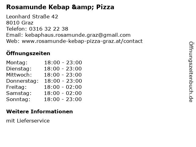 Rosamunde Kebap & Pizza in Graz: Adresse und Öffnungszeiten