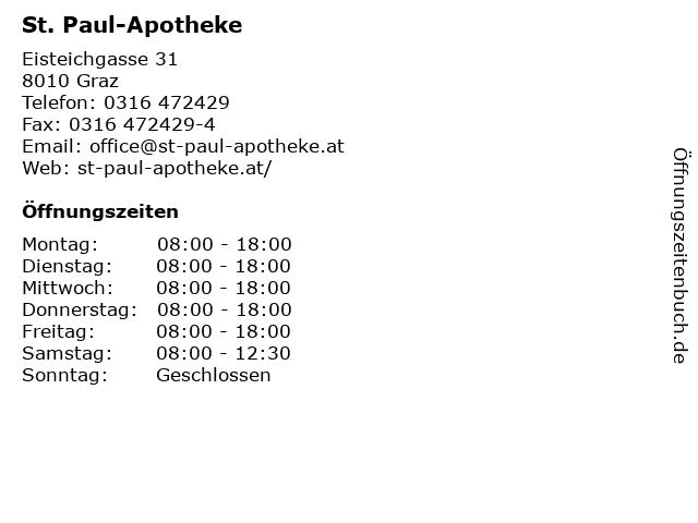 St. Paul-Apotheke in Graz: Adresse und Öffnungszeiten