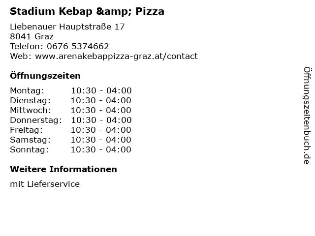 Stadium Kebap & Pizza in Graz: Adresse und Öffnungszeiten