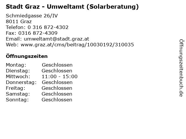 Stadt Graz - Umweltamt (Solarberatung) in Graz: Adresse und Öffnungszeiten