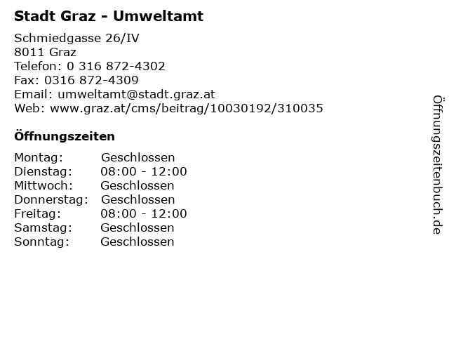 Stadt Graz - Umweltamt in Graz: Adresse und Öffnungszeiten