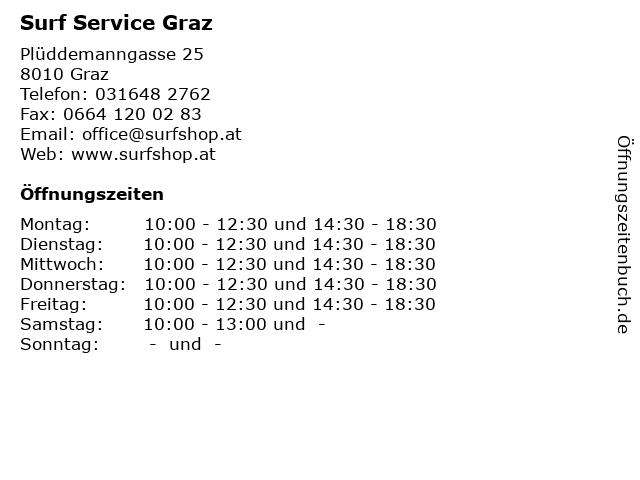 Surf Service Graz in Graz: Adresse und Öffnungszeiten