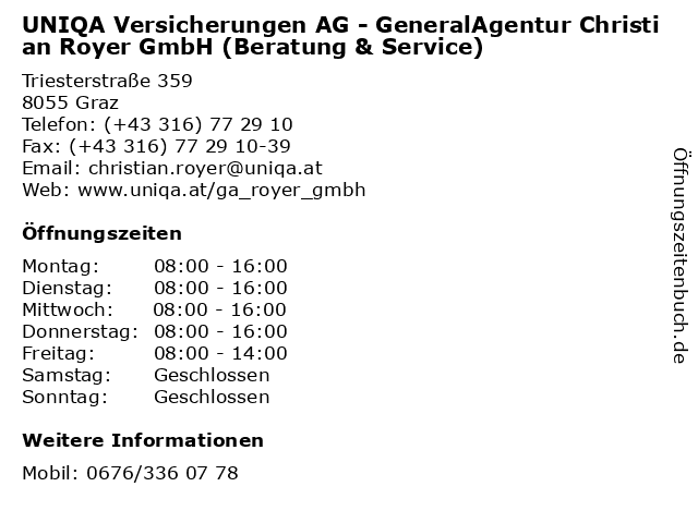 UNIQA Versicherungen AG - GeneralAgentur Christian Royer GmbH (Beratung & Service) in Graz: Adresse und Öffnungszeiten