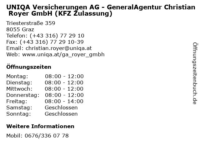 UNIQA Versicherungen AG - GeneralAgentur Christian Royer GmbH (KFZ Zulassung) in Graz: Adresse und Öffnungszeiten