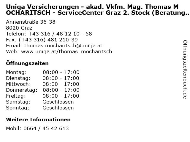 Uniqa Versicherungen - akad. Vkfm. Mag. Thomas MOCHARITSCH - ServiceCenter Graz 2. Stock (Beratung & Service) in Graz: Adresse und Öffnungszeiten