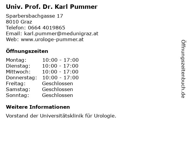 Prim. Univ. Prof. Dr. Karl Pummer in Graz: Adresse und Öffnungszeiten