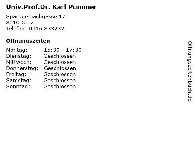 Univ.Prof.Dr. Karl Pummer in Graz: Adresse und Öffnungszeiten