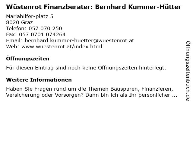 Wüstenrot Finanzberater: Bernhard Kummer-Hütter in Wien: Adresse und Öffnungszeiten