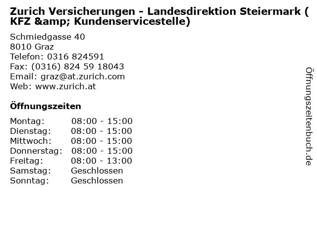 Zurich Versicherungen - Landesdirektion Steiermark (KFZ & Kundenservicestelle) in Graz: Adresse und Öffnungszeiten