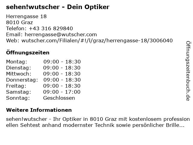 Wutscher Optik in Graz: Adresse und Öffnungszeiten