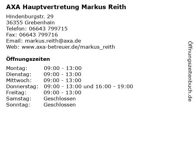 AXA Hauptvertretung Markus Reith in Grebenhain: Adresse und Öffnungszeiten