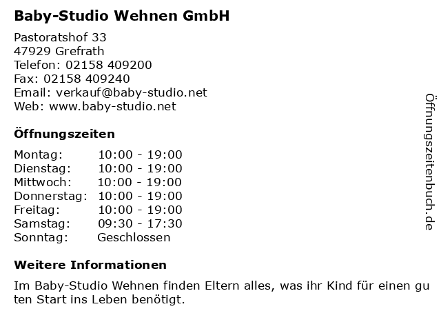 ᐅ Offnungszeiten Baby Studio Wehnen Gmbh Pastoratshof 33 In