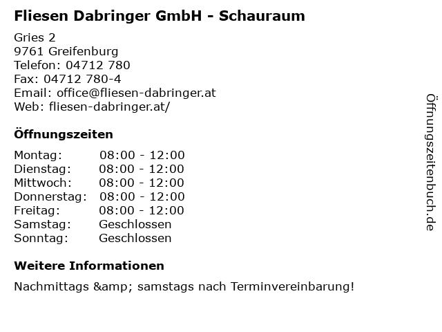 Fliesen Dabringer GmbH - Schauraum in Greifenburg: Adresse und Öffnungszeiten